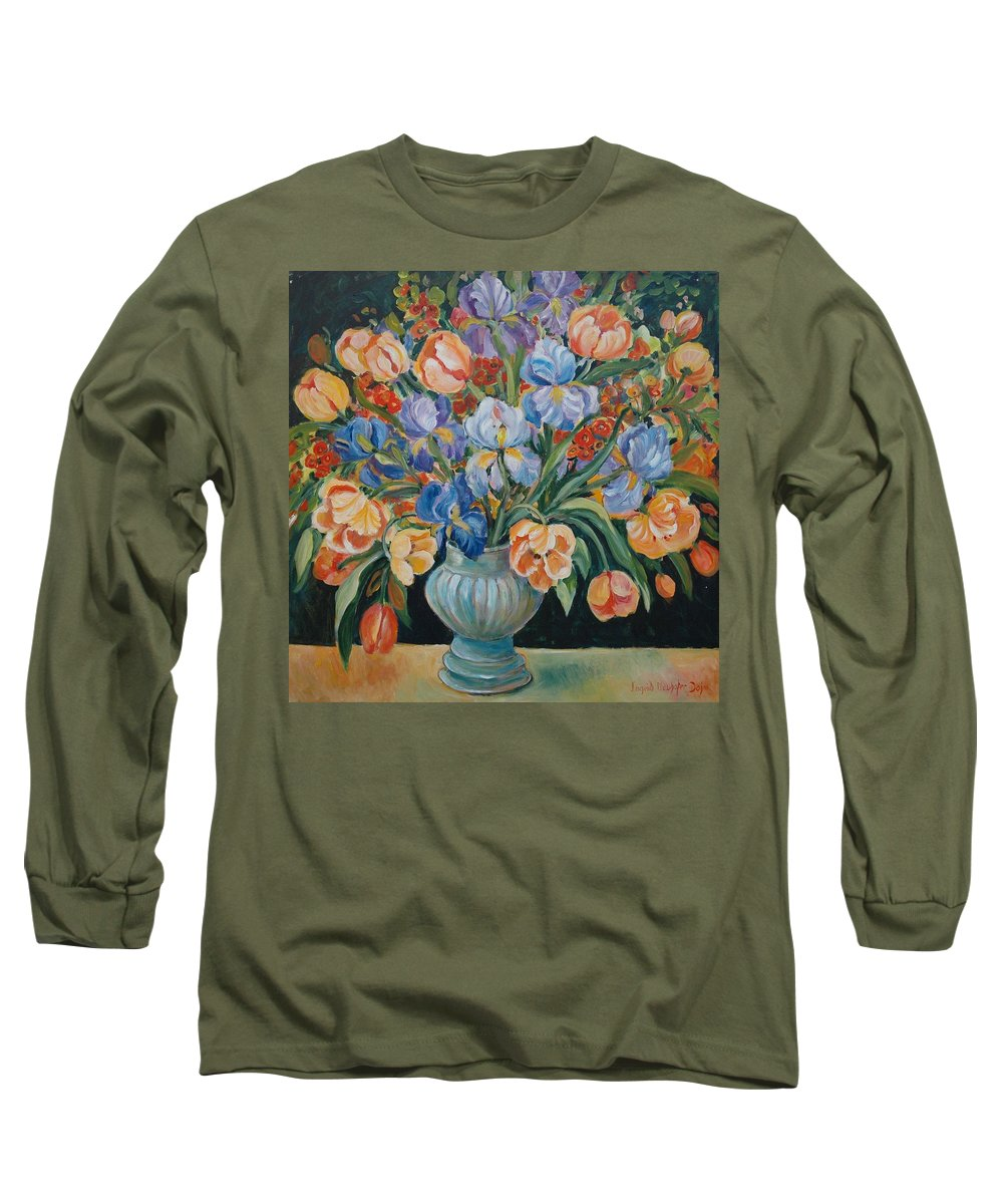 Still Life Long Sleeve T-Shirt featuring the painting Tulips by Alexandra Maria Ethlyn Cheshire