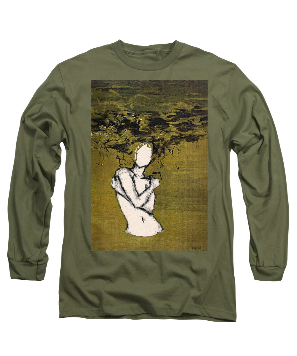 Gold Woman Hair Bath Nude Long Sleeve T-Shirt featuring the mixed media Untitled by Veronica Jackson