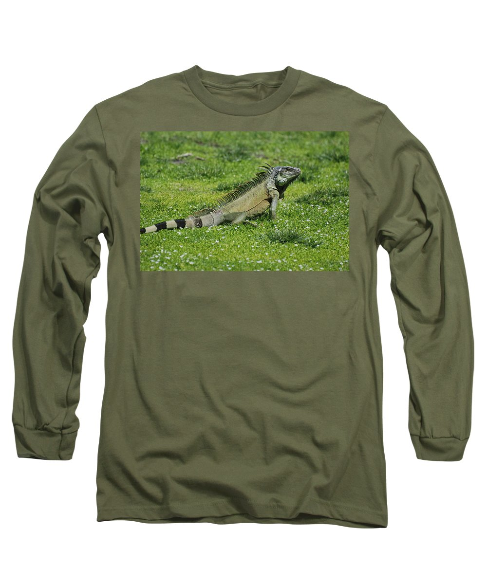 Macro Long Sleeve T-Shirt featuring the photograph I Iguana by Rob Hans
