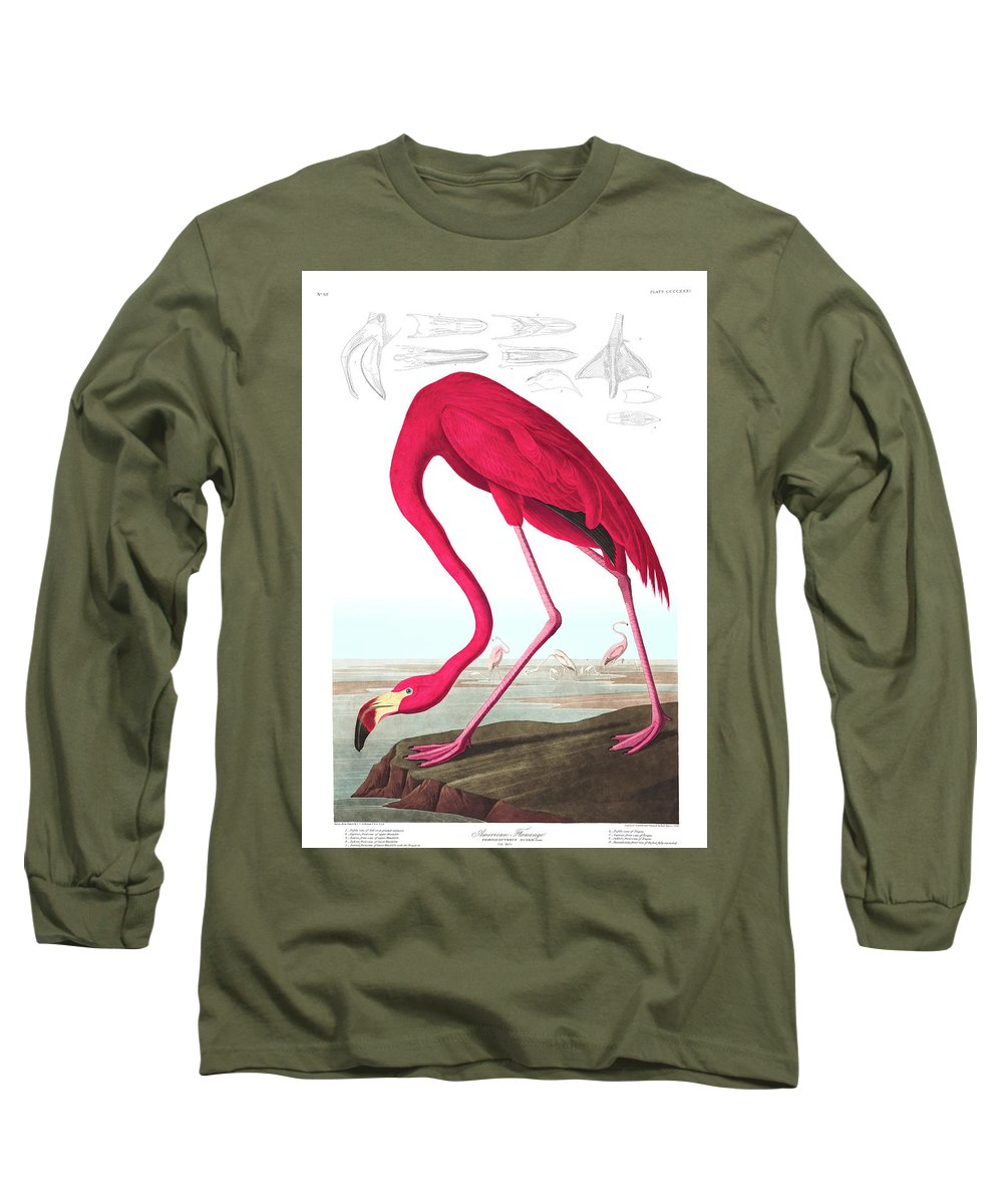 American Flamingo Long Sleeve T-Shirt featuring the painting American Flamingo by John James Audubon