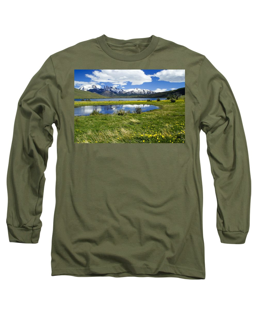 Patagonia Long Sleeve T-Shirt featuring the photograph Springtime In Torres Del Paine by Michele Burgess