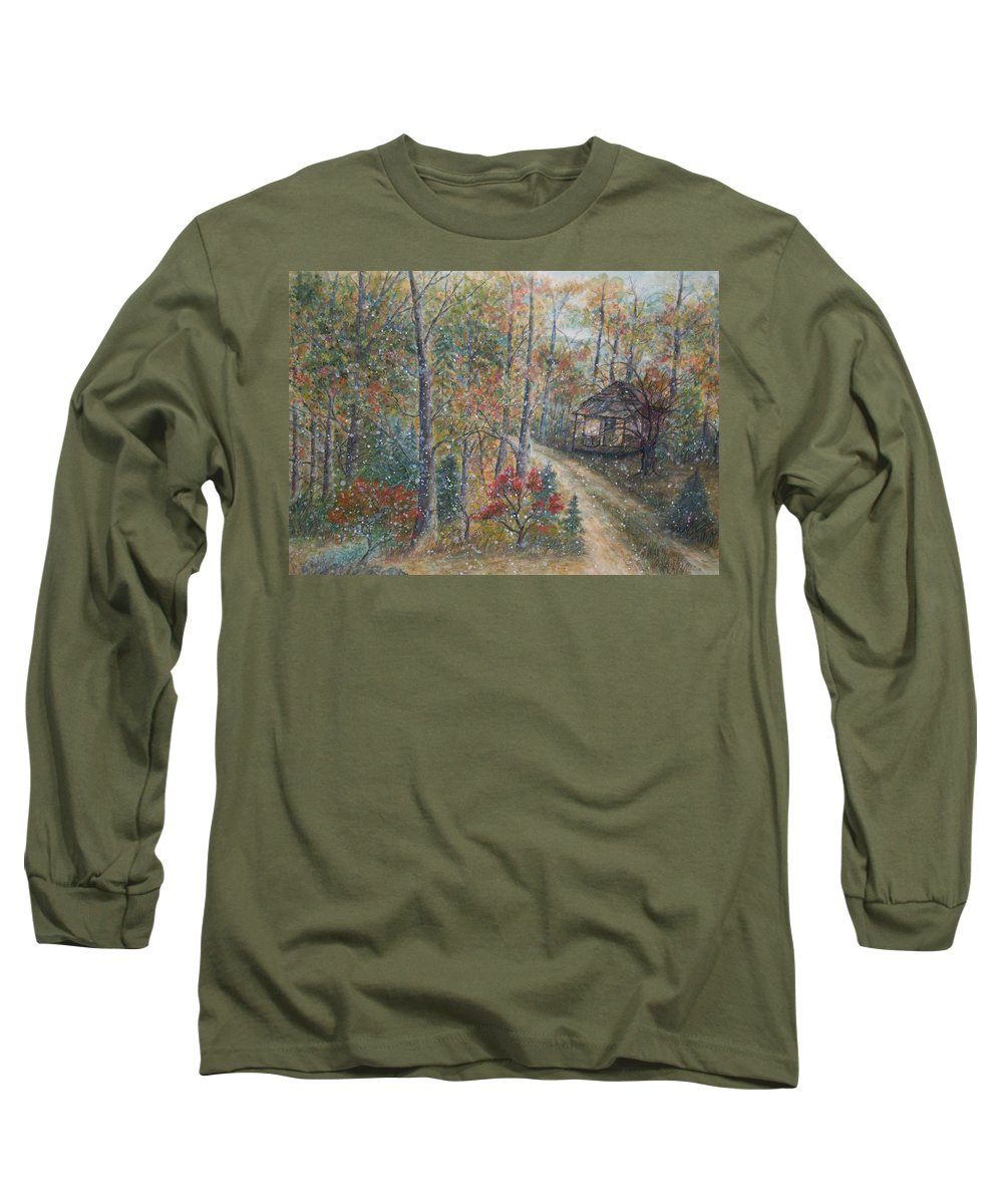 Country Road; Old House; Trees Long Sleeve T-Shirt featuring the painting A Bend In The Road by Ben Kiger