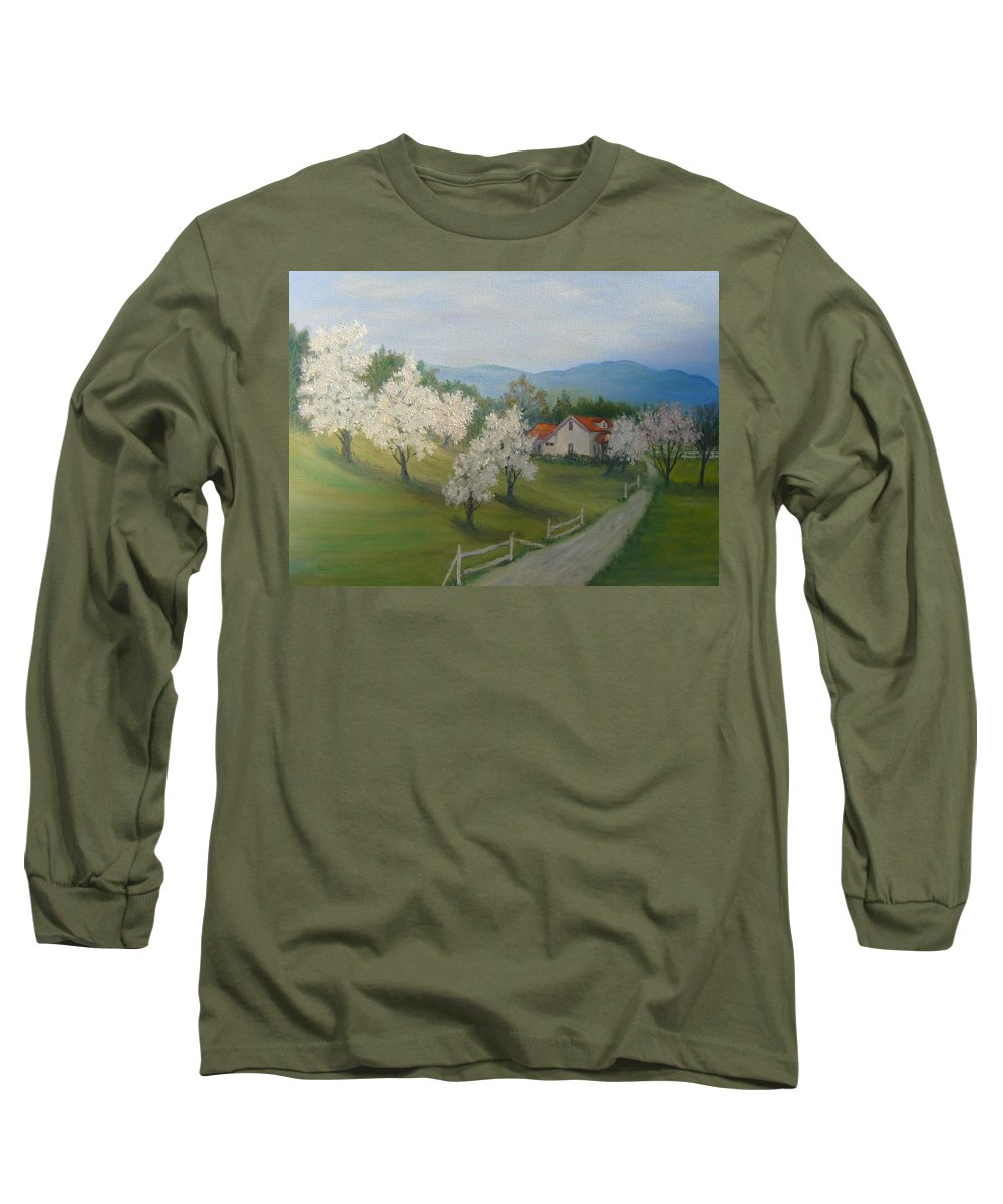 Landscape; Spring; Mountains; Country Road; House Long Sleeve T-Shirt featuring the painting A Day In The Country by Ben Kiger