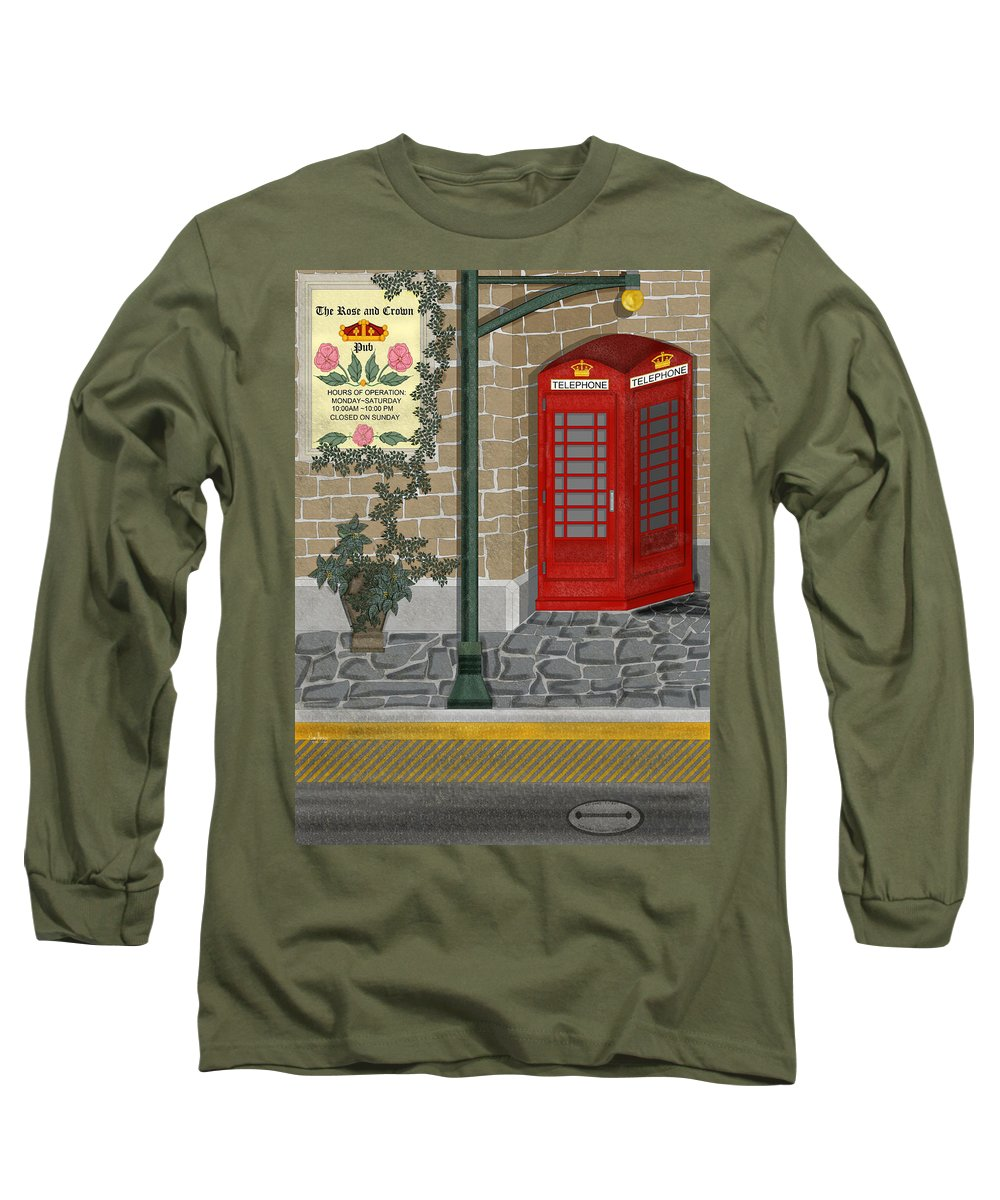 Cityscape Long Sleeve T-Shirt featuring the painting A Merry Old Corner In London by Anne Norskog