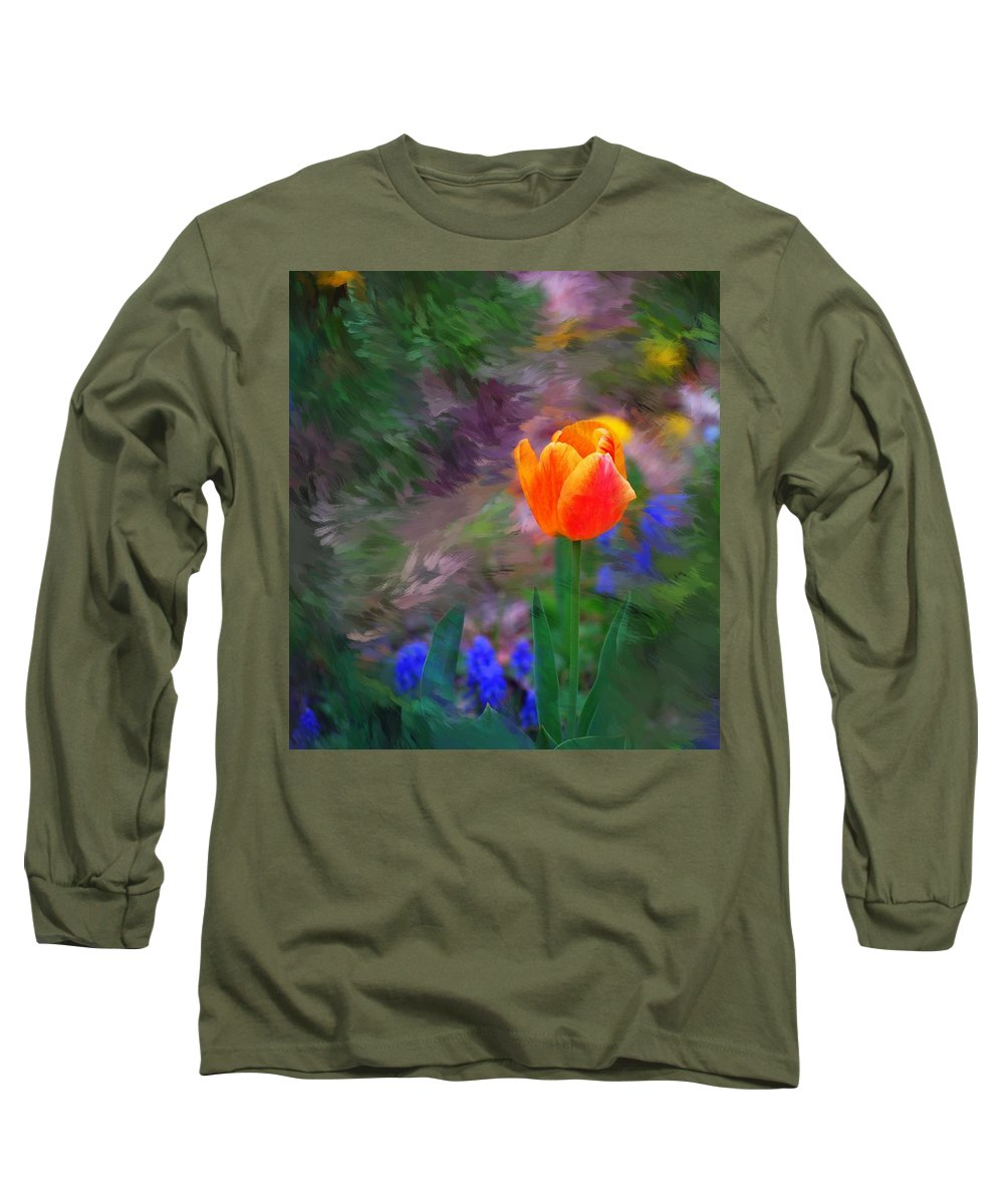 Floral Long Sleeve T-Shirt featuring the digital art A Tulip Stands Alone by David Lane