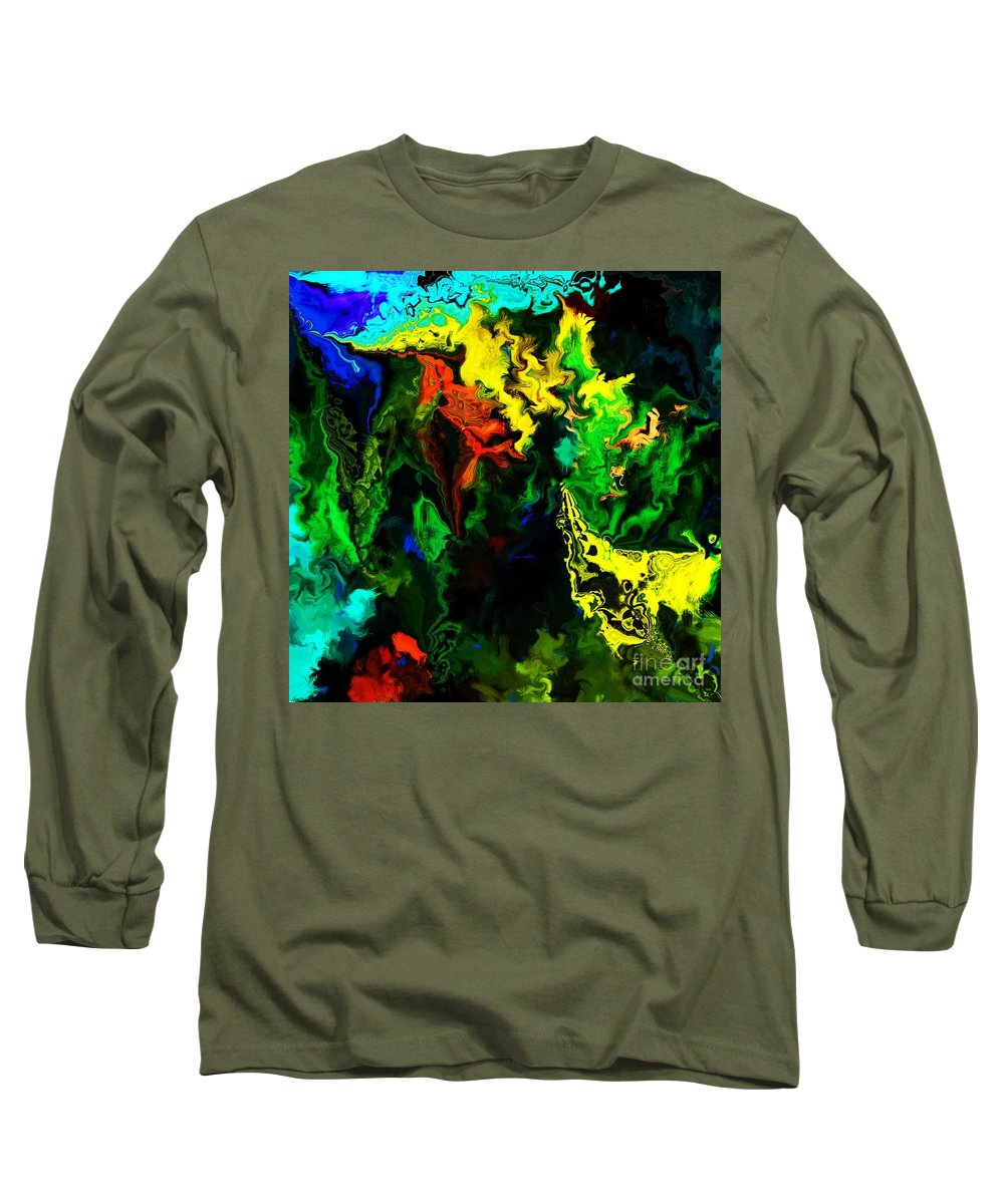 Abstract Long Sleeve T-Shirt featuring the digital art Abstract 2-23-09 by David Lane