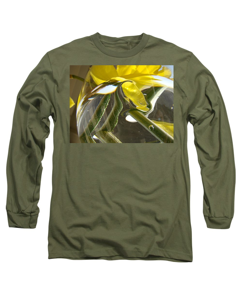 �daffodils Artwork� Long Sleeve T-Shirt featuring the photograph Abstract Artwork Daffodils Flowers 1 Natural Abstract Art Prints Glass Vase Water Art Light Air by Baslee Troutman