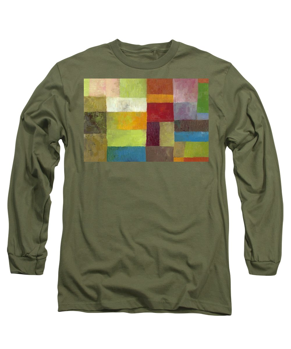 Abstract Long Sleeve T-Shirt featuring the painting Abstract Color Study Lv by Michelle Calkins