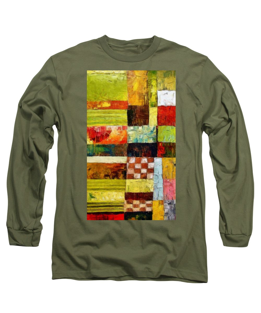 Patchwork Long Sleeve T-Shirt featuring the painting Abstract Color Study With Checkerboard And Stripes by Michelle Calkins