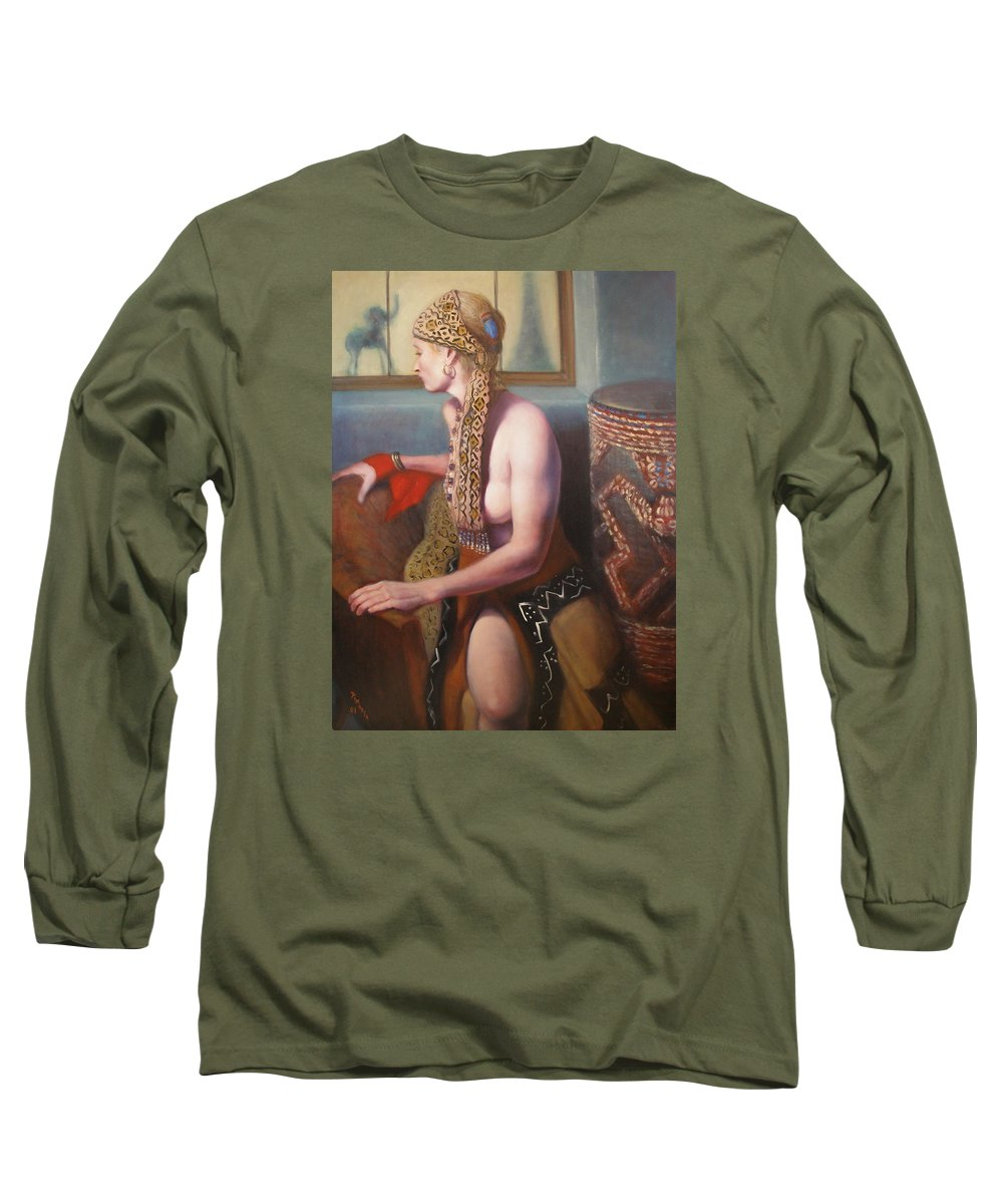 Realism Long Sleeve T-Shirt featuring the painting African Drum 1 by Donelli DiMaria