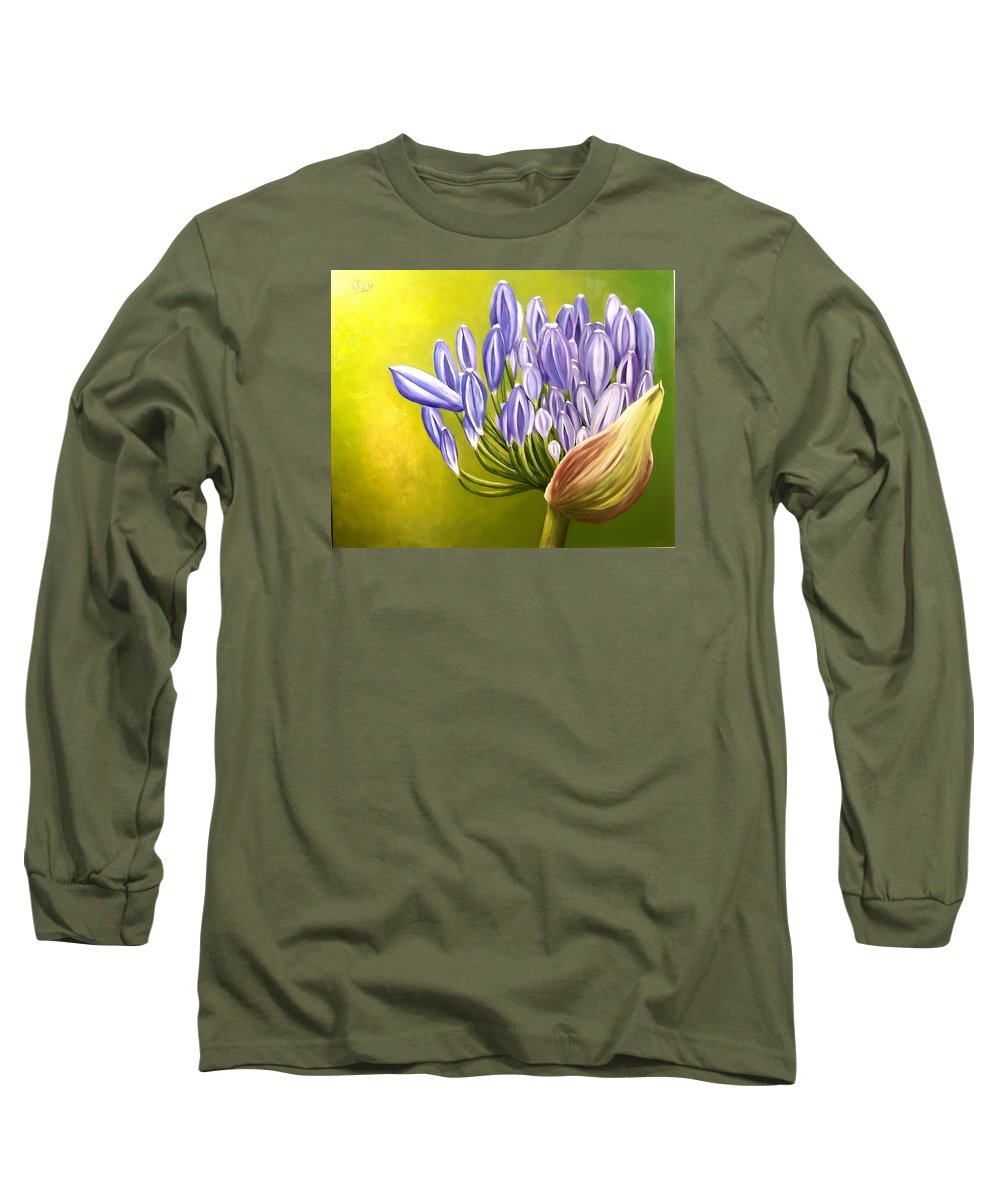 Flower Long Sleeve T-Shirt featuring the painting Agapanthos by Natalia Tejera