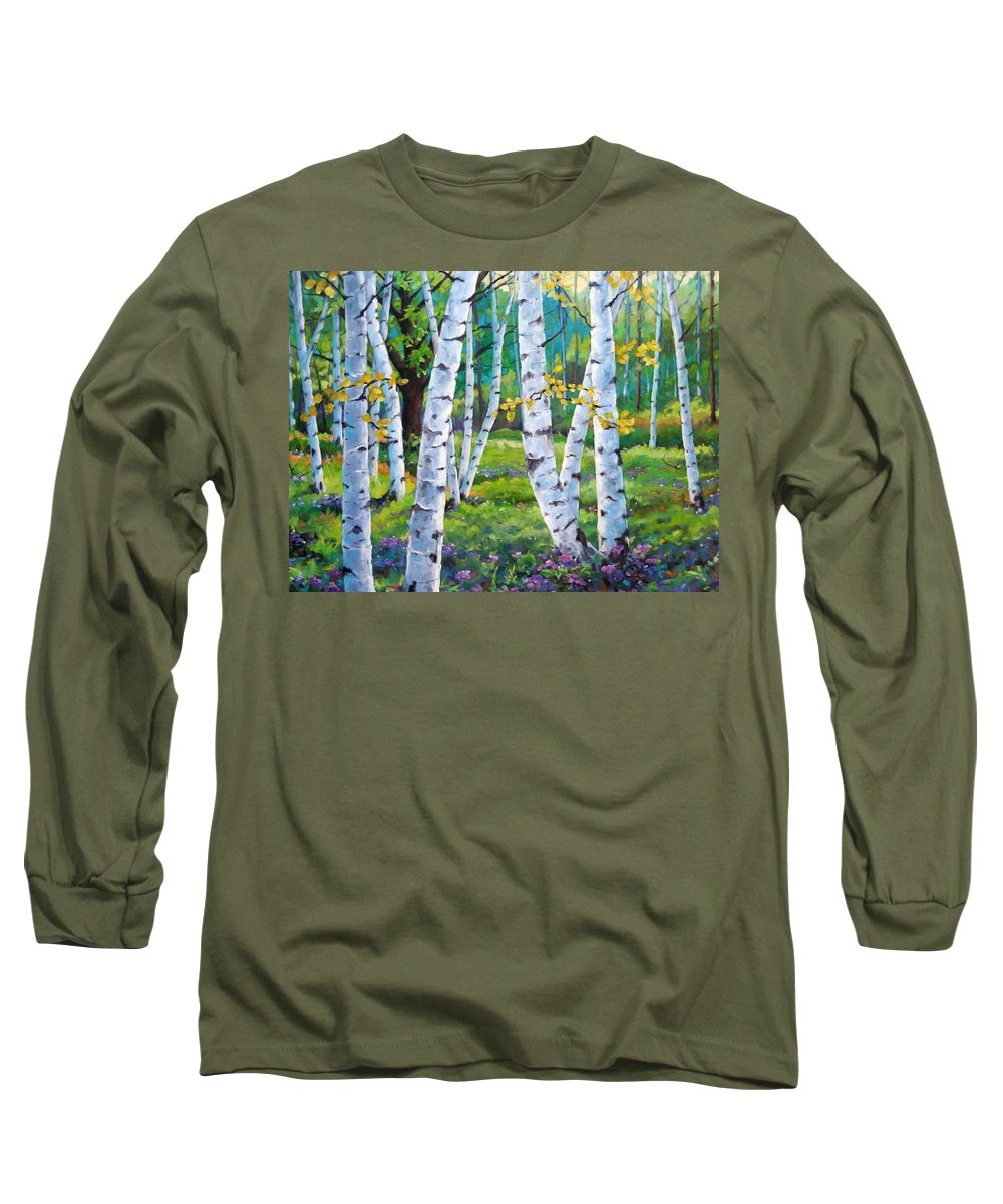 Birche; Birches; Tree; Trees; Nature; Landscape; Landscapes Scenic; Richard T. Pranke; Canadian Artist Painter Long Sleeve T-Shirt featuring the painting Alpine Flowers And Birches by Richard T Pranke