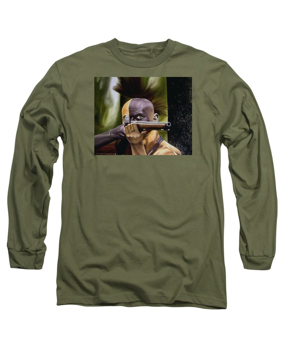 Indian Long Sleeve T-Shirt featuring the painting Ambush by Marc Stewart