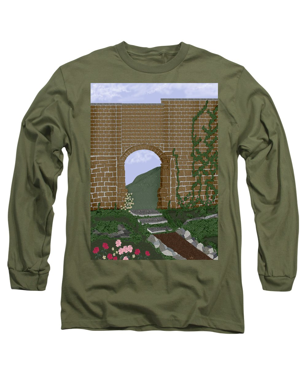 Irish Ruins Long Sleeve T-Shirt featuring the painting Ancient Walls by Anne Norskog