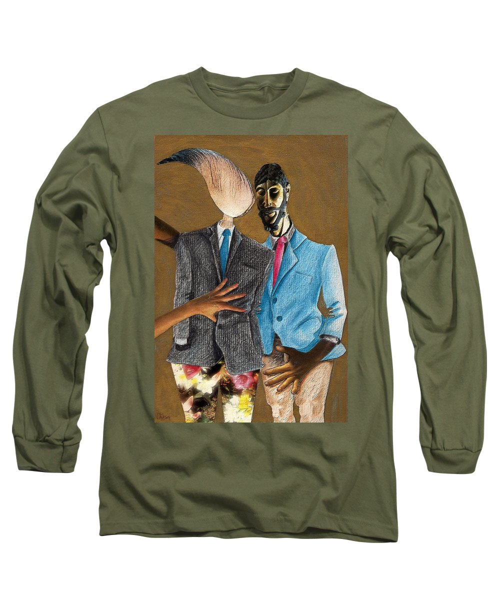 Sex Gay Androginality Couple Love Relation Long Sleeve T-Shirt featuring the mixed media Androginality by Veronica Jackson