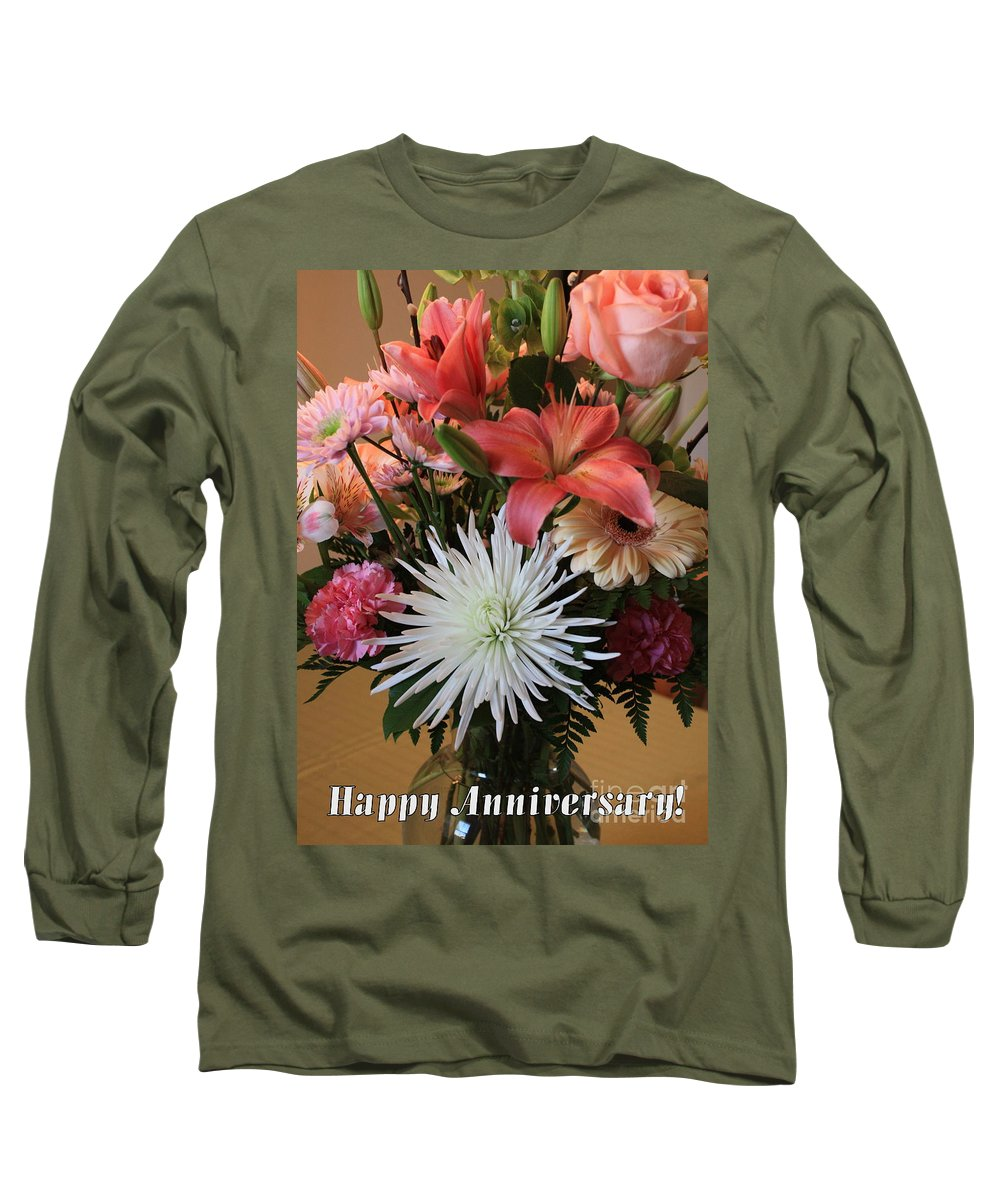 Bouquet Long Sleeve T-Shirt featuring the photograph Anniversary Card by Carol Groenen