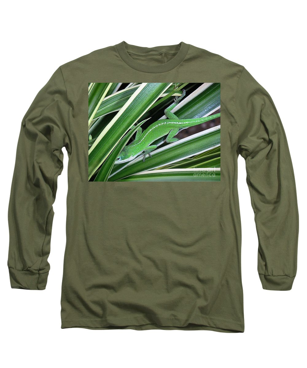 Nature Long Sleeve T-Shirt featuring the photograph Anole Hiding In Spider Plant by Lucyna A M Green