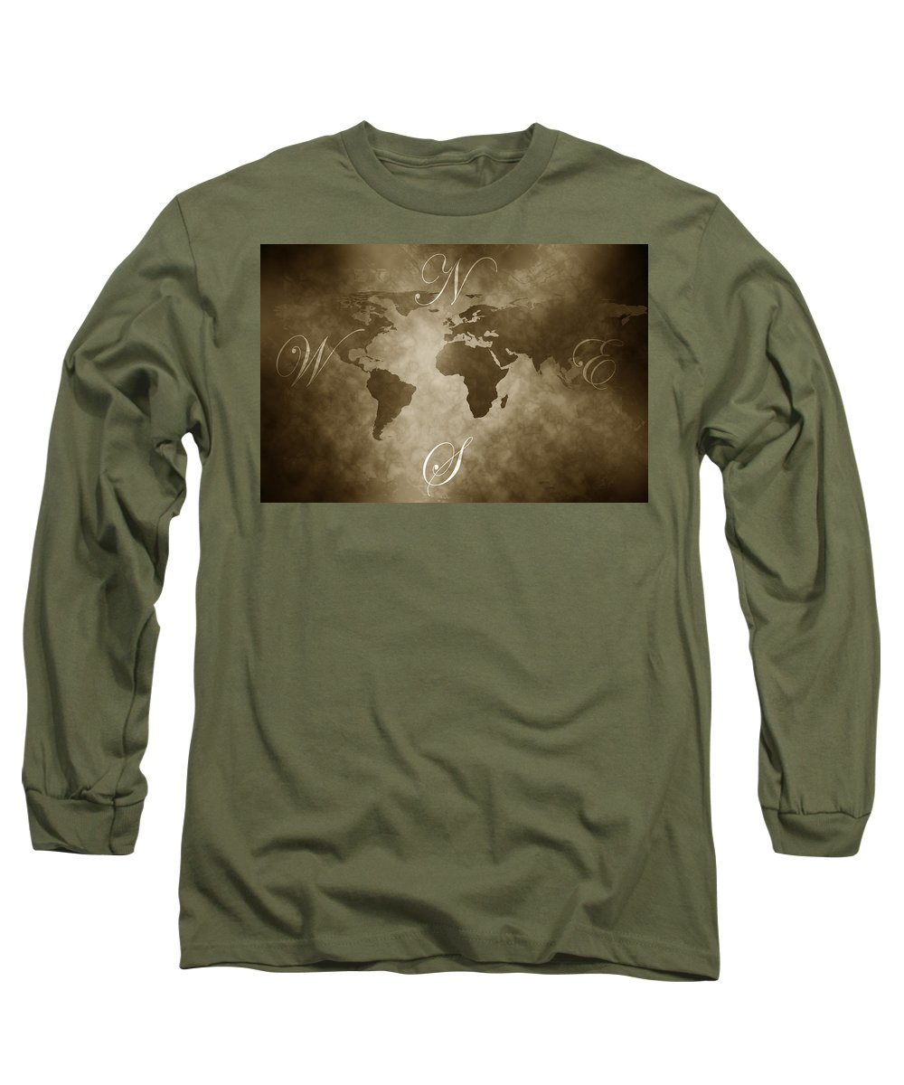 Compass Long Sleeve T-Shirt featuring the digital art Antique World Map by Phill Petrovic
