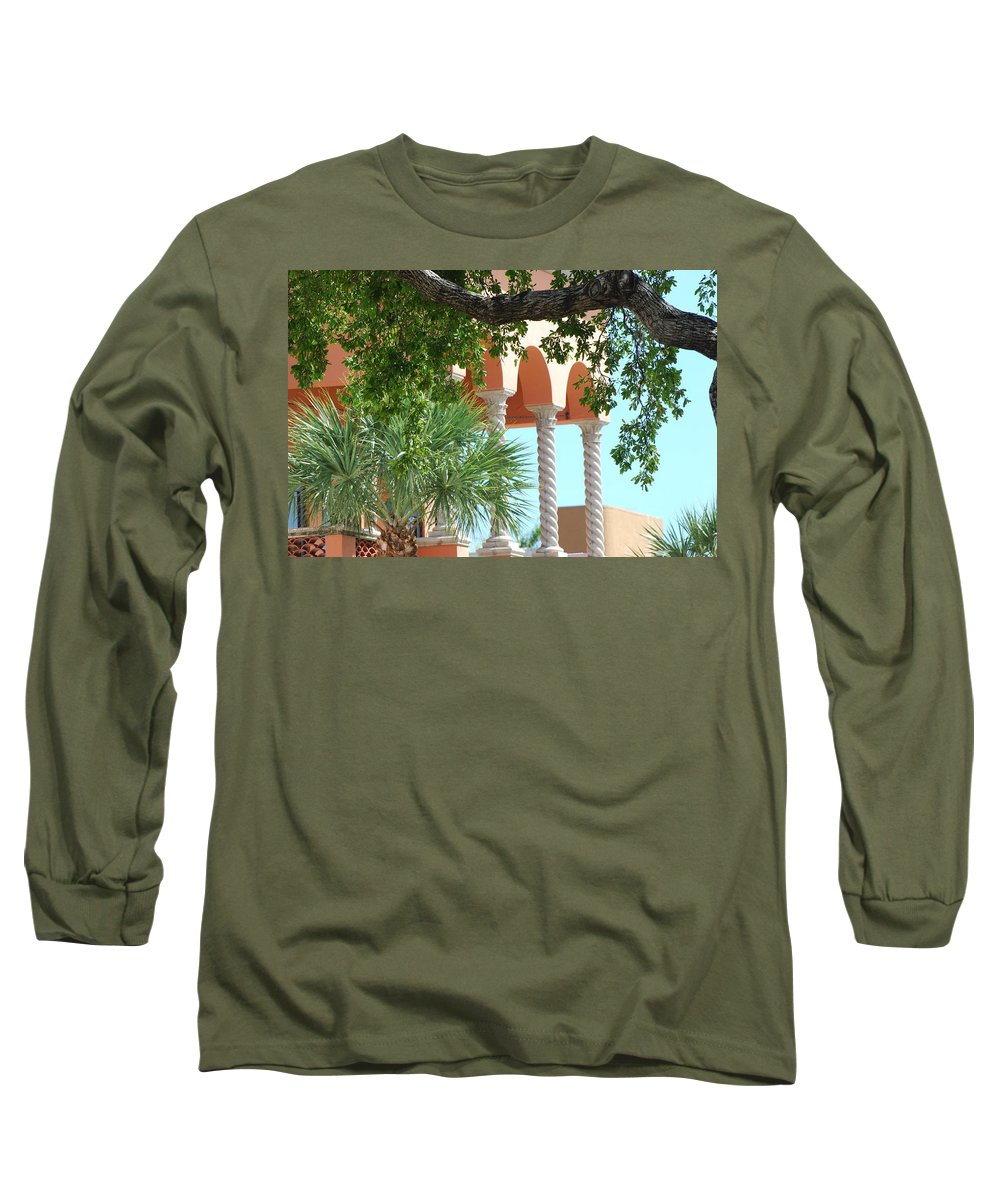 Architecture Long Sleeve T-Shirt featuring the photograph Arches Thru The Trees by Rob Hans