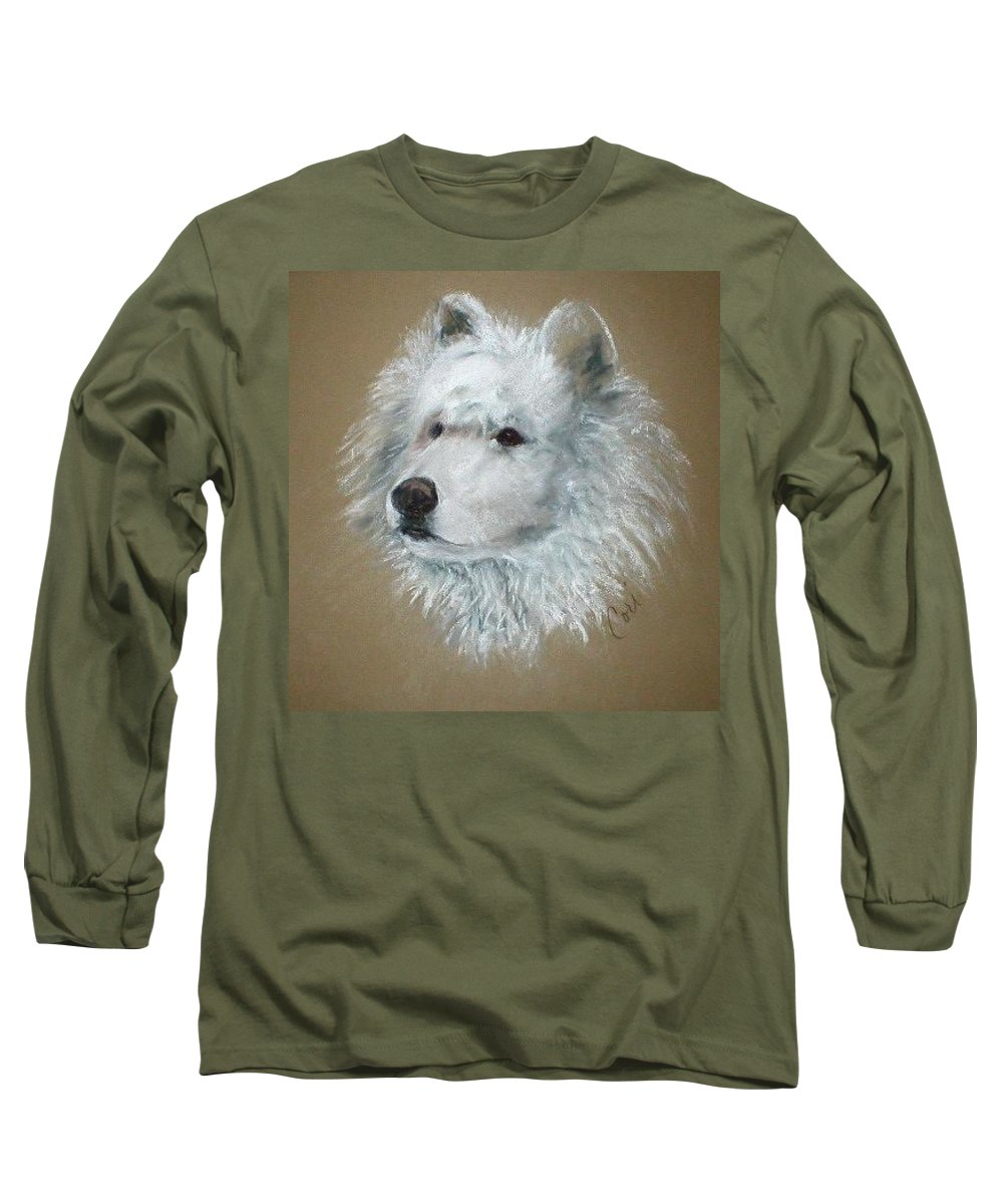 Pastel Long Sleeve T-Shirt featuring the drawing Arctic Majestry by Cori Solomon