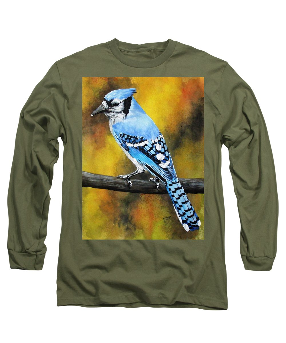 Common Bird Long Sleeve T-Shirt featuring the painting Aristocrat by Barbara Keith