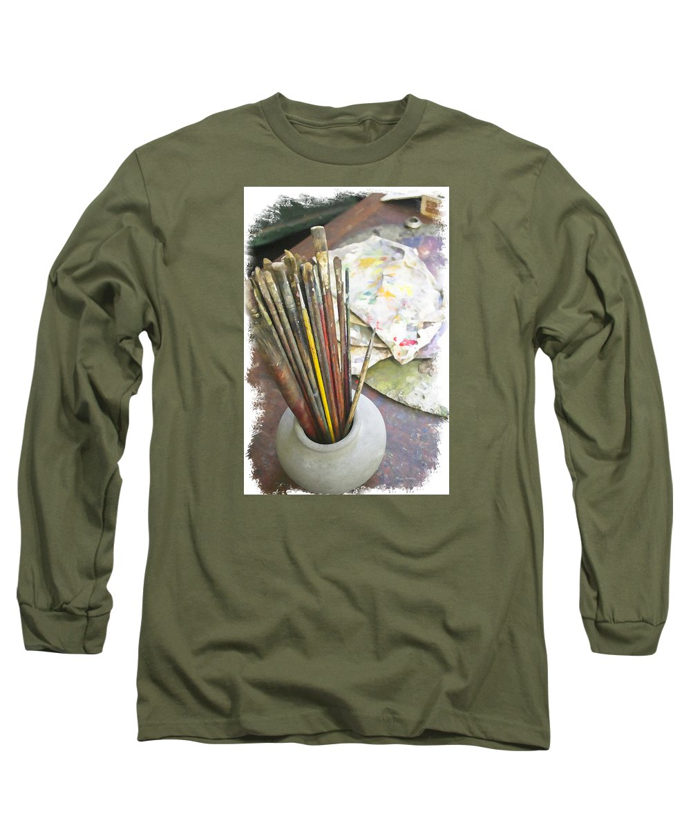 Artist Long Sleeve T-Shirt featuring the photograph Artist Brushes by Margie Wildblood