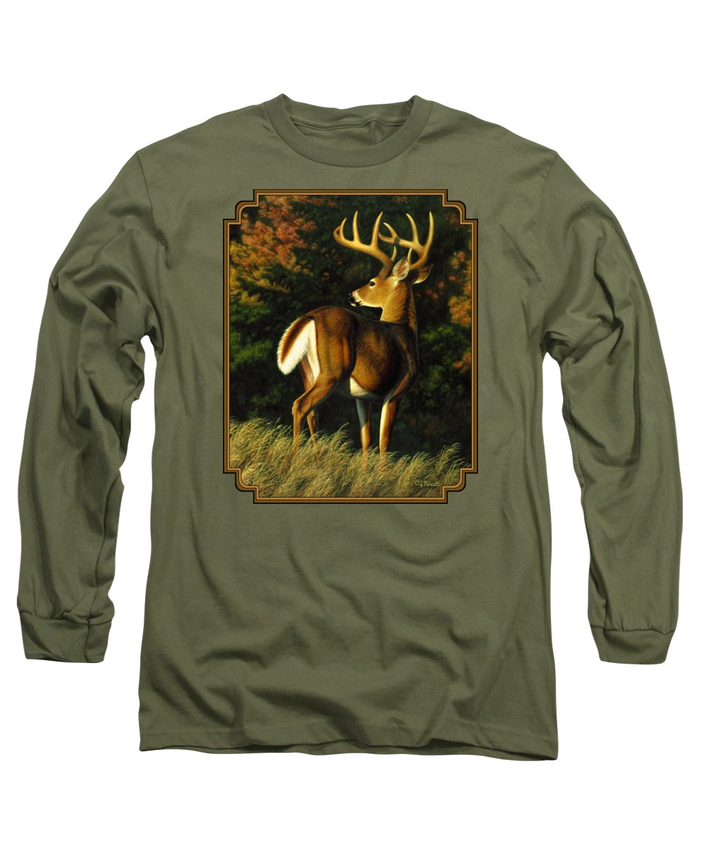 Deer Long Sleeve T-Shirt featuring the painting Whitetail Buck - Indecision by Crista Forest