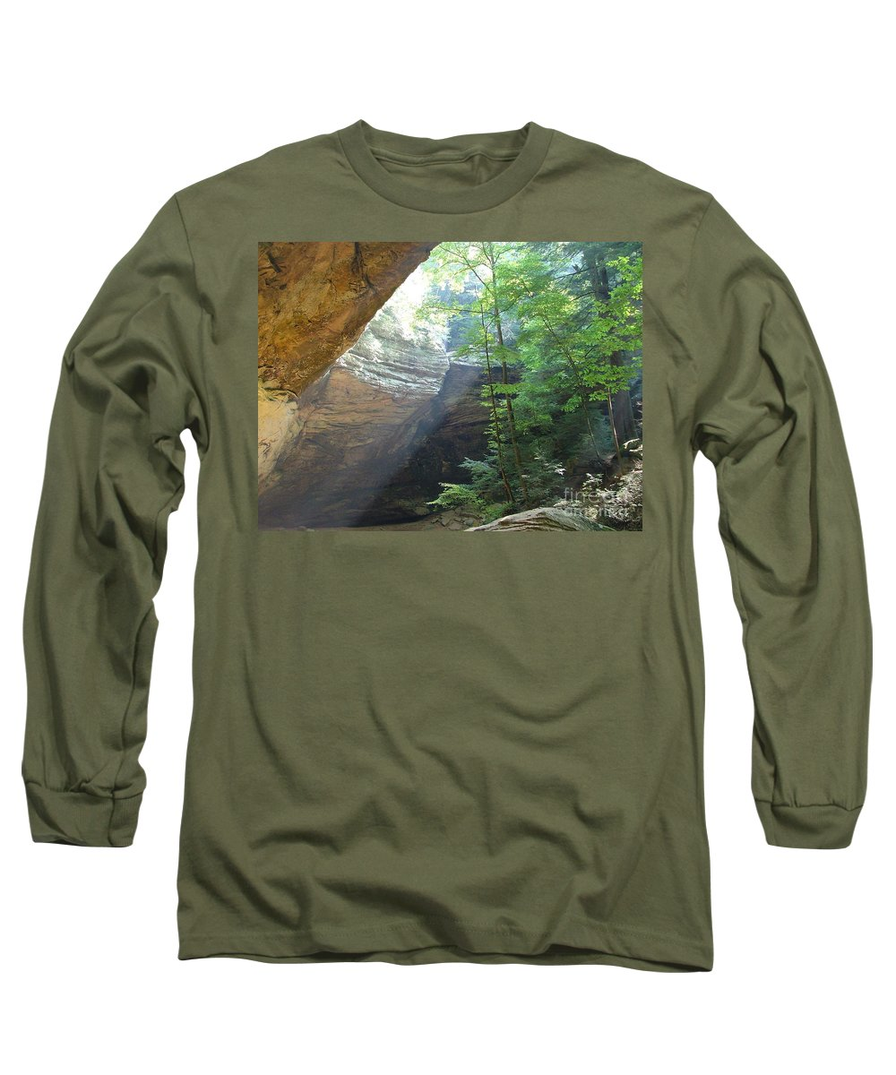Photograph Long Sleeve T-Shirt featuring the photograph Ash Cave by Mindy Newman