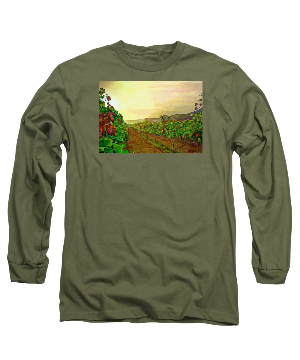 Vineyard Long Sleeve T-Shirt featuring the painting Autumn At Steenberg by Michael Durst