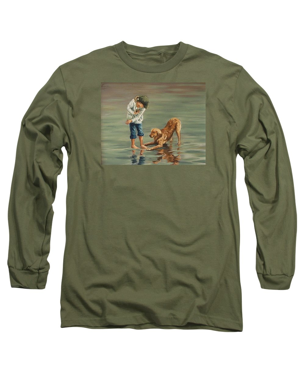 Girl Kid Child Figurative Dog Sea Reflection Playing Water Beach Long Sleeve T-Shirt featuring the painting Autumn Eve by Natalia Tejera