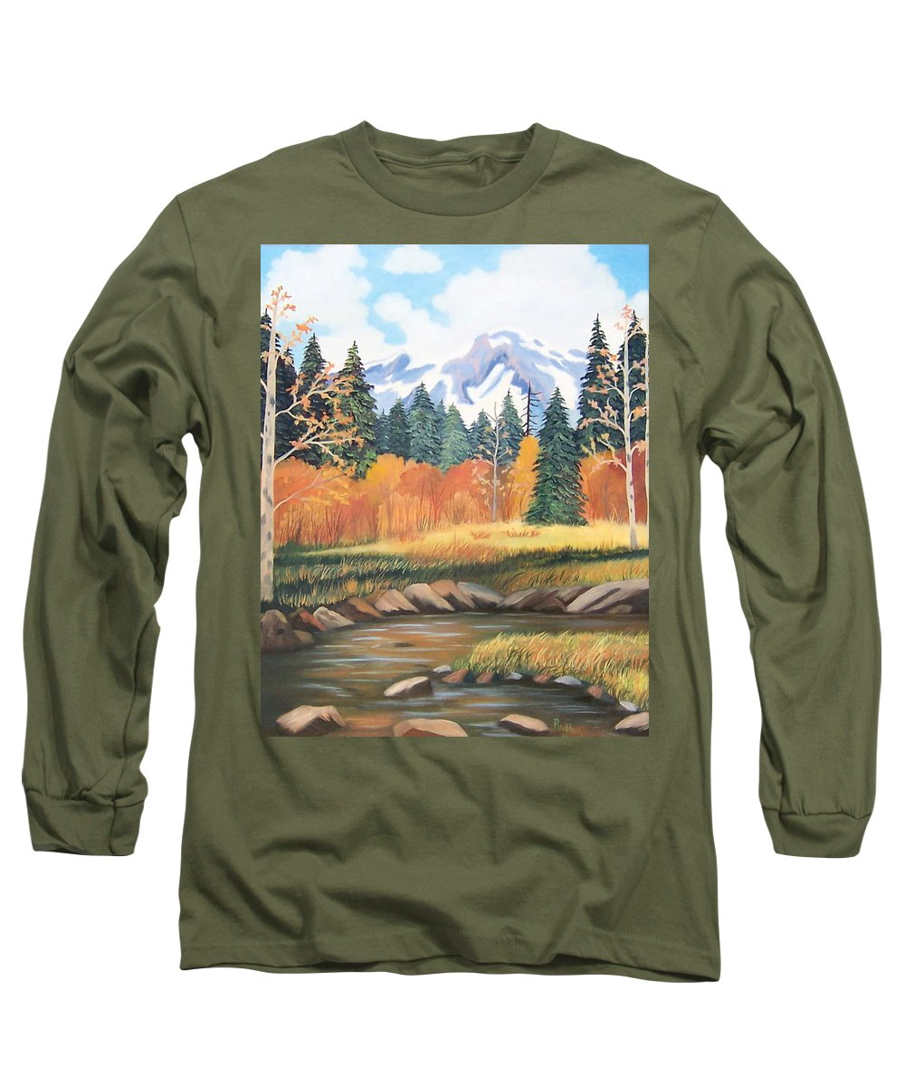 Landscape Long Sleeve T-Shirt featuring the painting Autumn In The Mountans by Ruth Housley