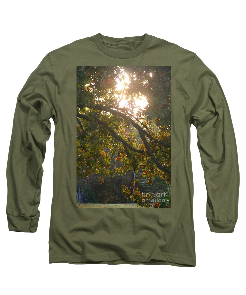 Autumn Long Sleeve T-Shirt featuring the photograph Autumn Morning Glow by Nadine Rippelmeyer