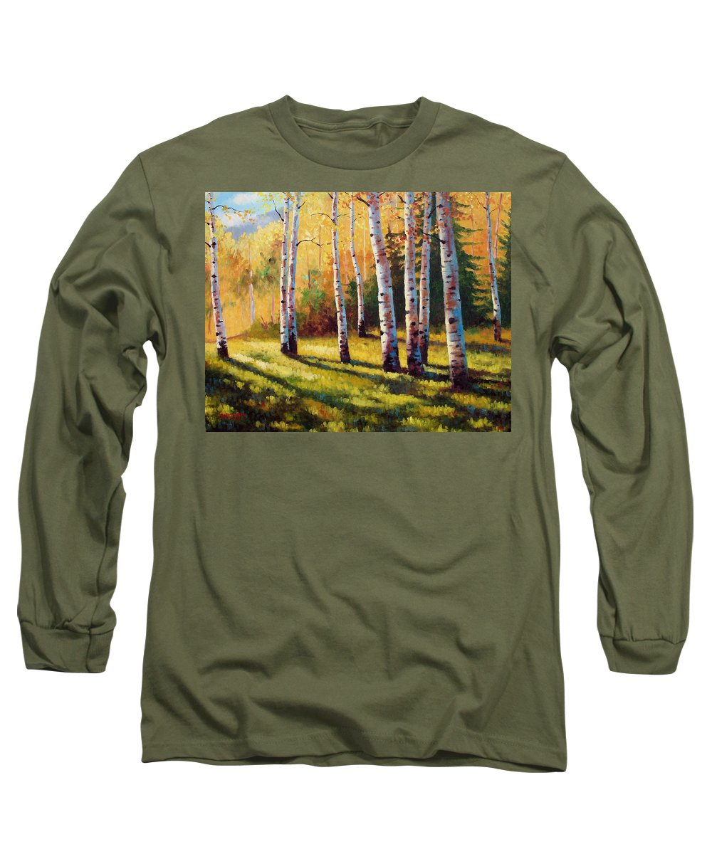 Landscape Long Sleeve T-Shirt featuring the painting Autumn Shade by David G Paul