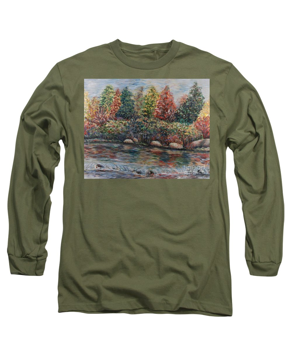 Autumn Long Sleeve T-Shirt featuring the painting Autumn Stream by Nadine Rippelmeyer