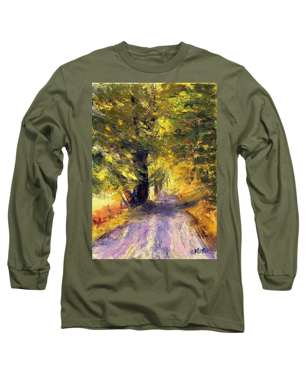 Autumn Long Sleeve T-Shirt featuring the painting Autumn Walk by Gail Kirtz
