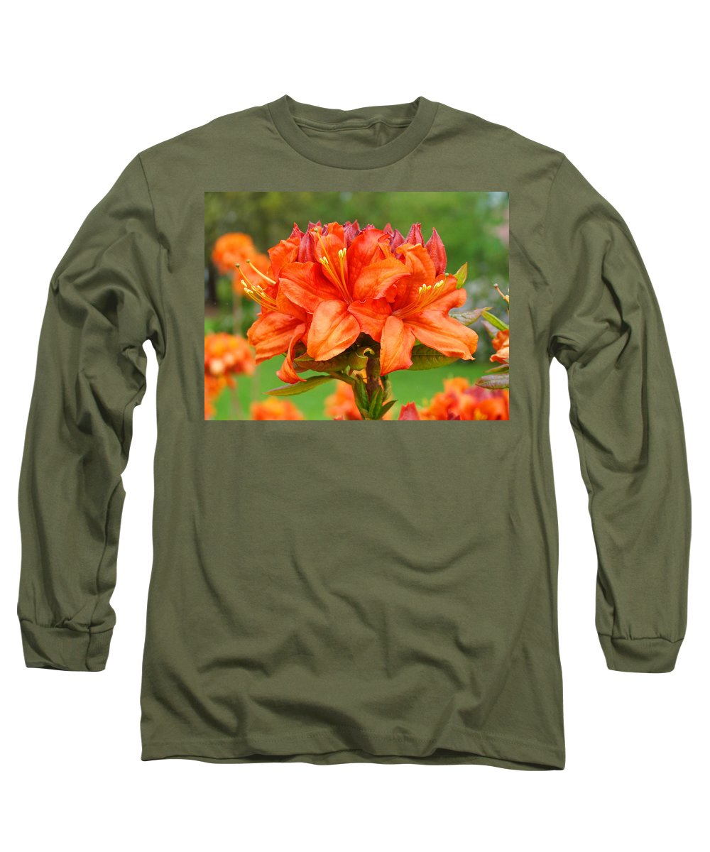 �azaleas Artwork� Long Sleeve T-Shirt featuring the photograph Azaleas Orange Red Azalea Flowers 11 Botanical Giclee Art Baslee Troutman by Baslee Troutman