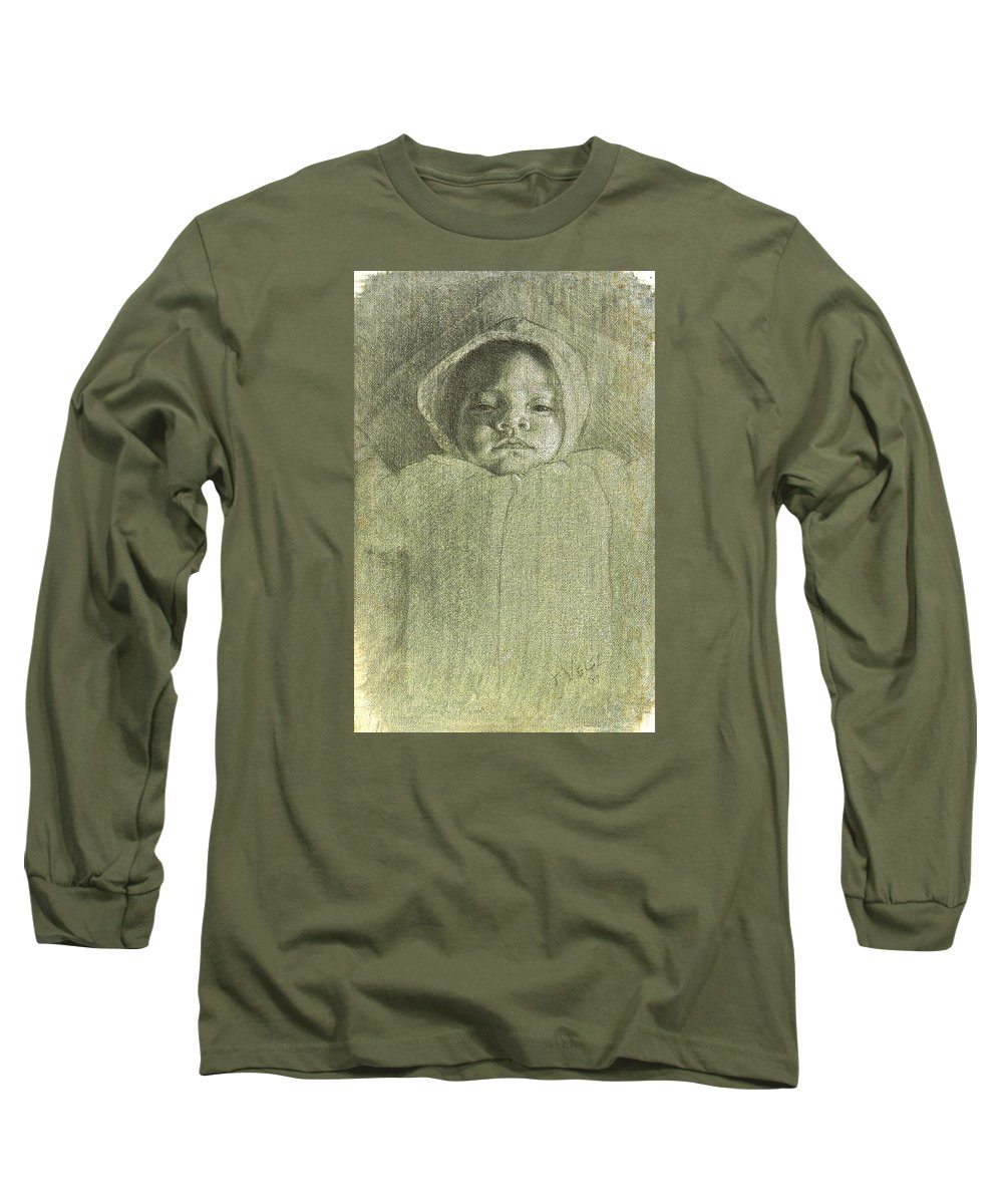 Long Sleeve T-Shirt featuring the painting Baby Self Portrait by Joe Velez