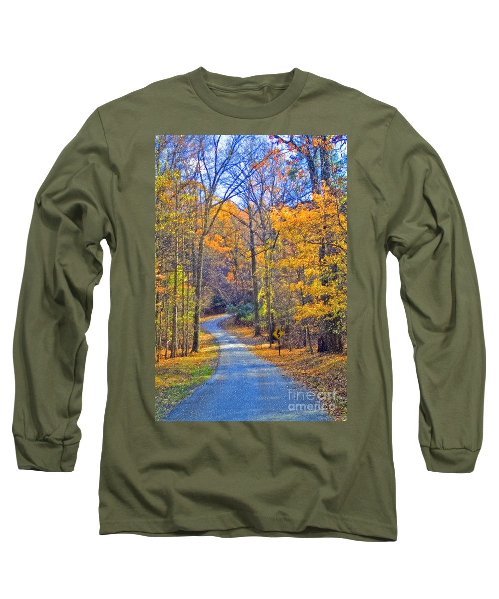 Back Road Fall Colors Foliage Revolutionary Civil War Road Valley Forge Pa Long Sleeve T-Shirt featuring the photograph Back Road Fall Foliage by David Zanzinger