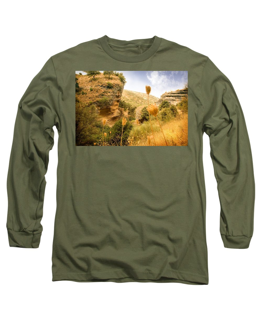 Spain Long Sleeve T-Shirt featuring the photograph Bandit Country Near The Edge Of The Fan In Ronda Area Andalucia Spain by Mal Bray