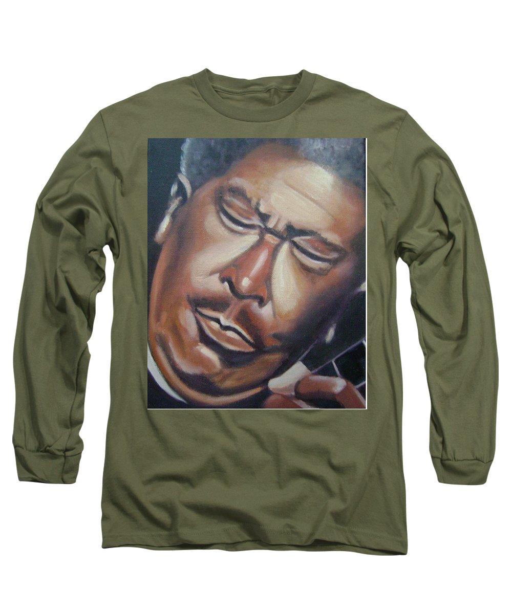 B.b. King Long Sleeve T-Shirt featuring the painting B.b. King by Toni Berry