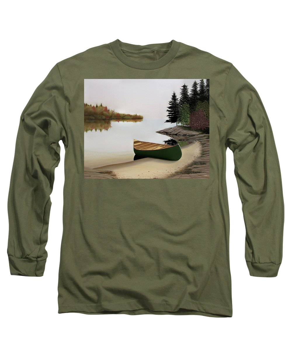 Canoe Paintings Long Sleeve T-Shirt featuring the painting Beached Canoe In Muskoka by Kenneth M Kirsch