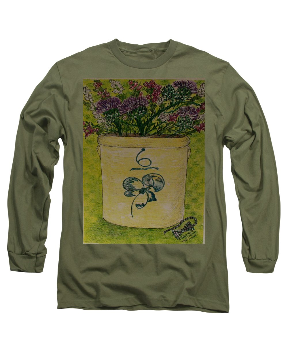 Bee Sting Crock Long Sleeve T-Shirt featuring the painting Bee Sting Crock With Good Luck Bow Heather And Thistles by Kathy Marrs Chandler