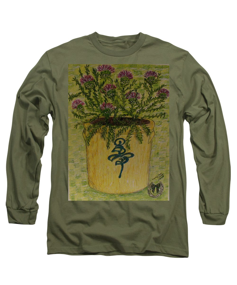 Vintage Long Sleeve T-Shirt featuring the painting Bee Sting Crock With Good Luck Horseshoe by Kathy Marrs Chandler