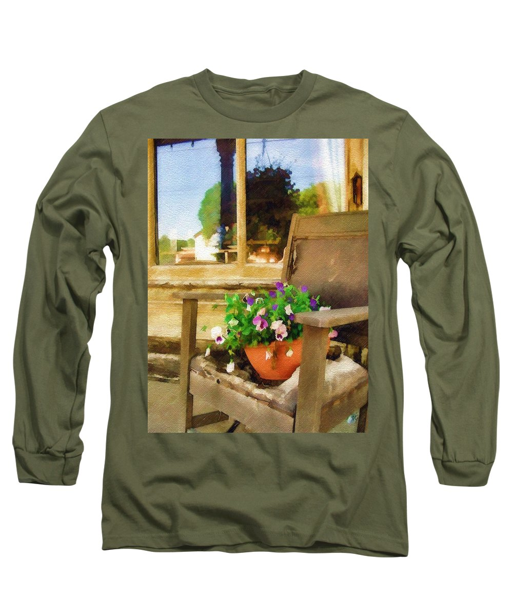 Pansies Long Sleeve T-Shirt featuring the photograph Best Seat In The House by Sandy MacGowan