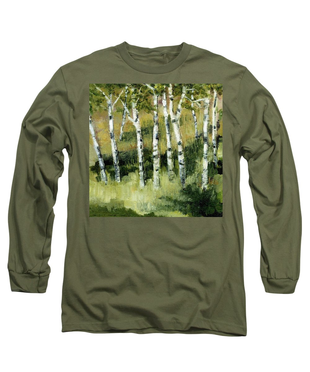 Trees Long Sleeve T-Shirt featuring the painting Birches On A Hill by Michelle Calkins