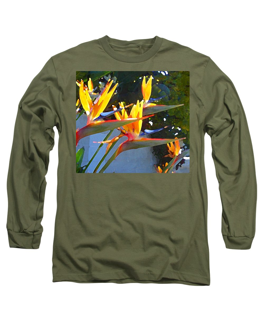 Abstract Long Sleeve T-Shirt featuring the painting Bird Of Paradise Backlit By Sun by Amy Vangsgard