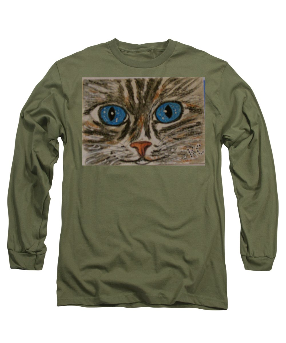 Blue Eyes Long Sleeve T-Shirt featuring the painting Blue Eyed Tiger Cat by Kathy Marrs Chandler