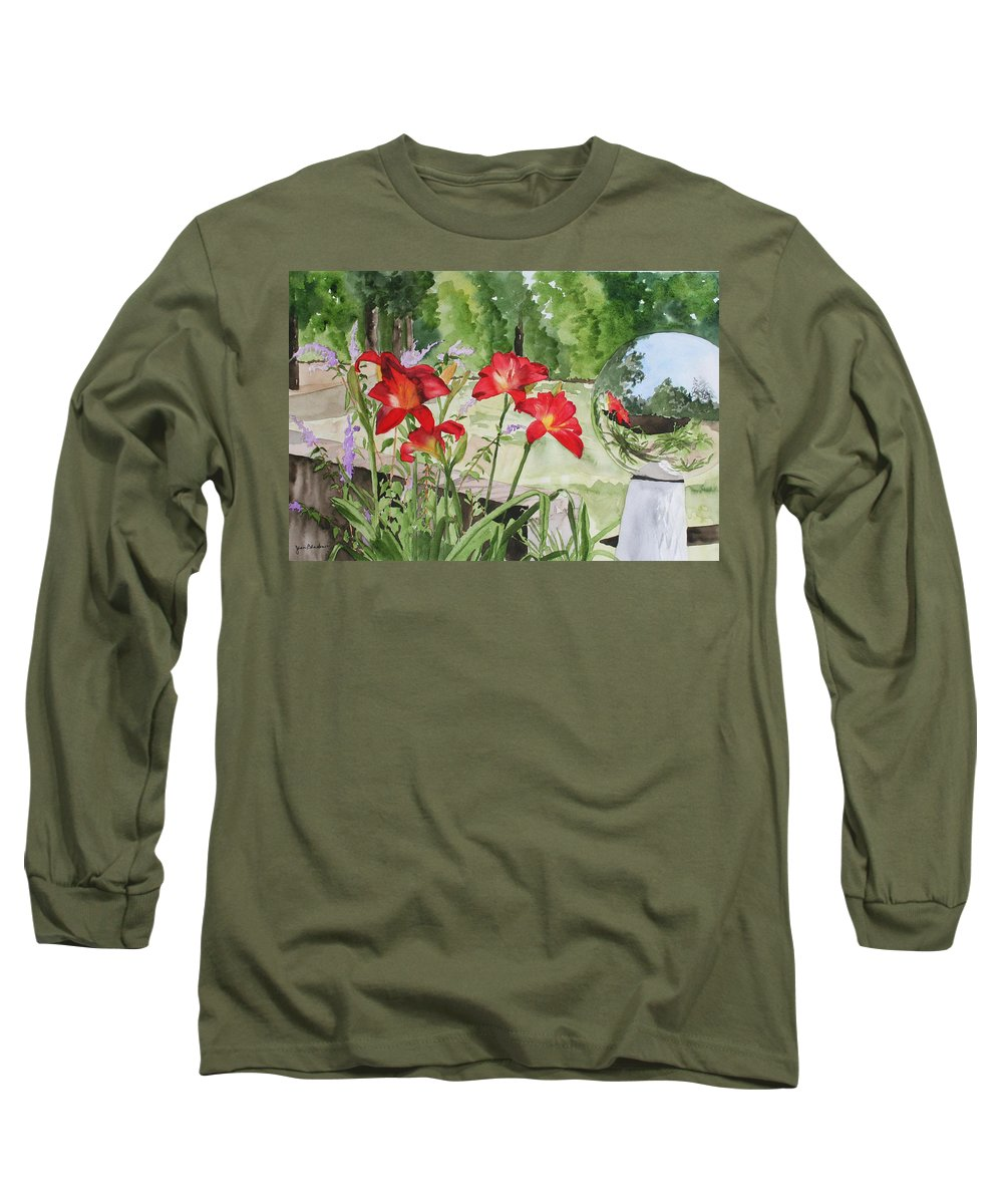 Flowers Long Sleeve T-Shirt featuring the painting Blue Sky Reflections by Jean Blackmer