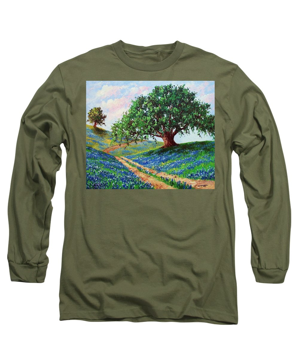 Bluebonnet Long Sleeve T-Shirt featuring the painting Bluebonnet Road by David G Paul