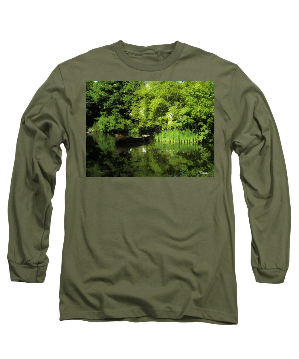 Irish Long Sleeve T-Shirt featuring the digital art Boat Reflected On Water County Clare Ireland Painting by Teresa Mucha